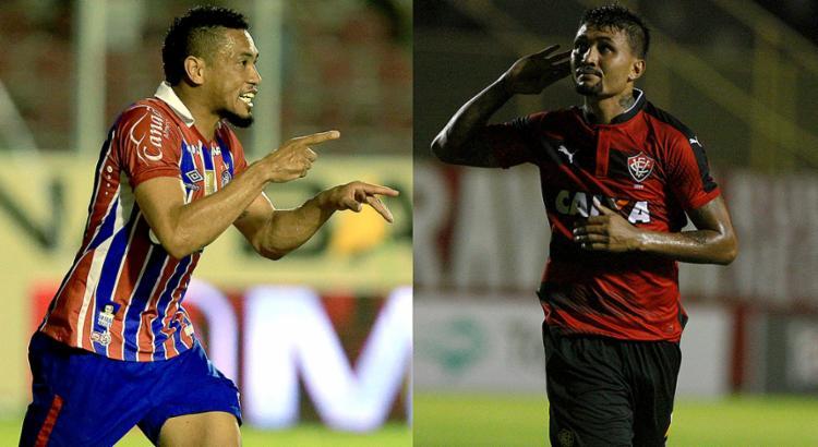Hernane ainda não balançou as redes no Estadual; Kieza tem cinco gols no torneio - Foto: Felipe Oliveira l EC Bahia e Adilton Venegeroles l Ag. A TARDE