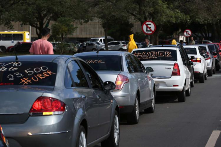Motoristas do Uber fizeram mobilização para votação de projeto em Brasília - Foto: Rodrigues Pozzebom | Agência Brasil | Divulgação