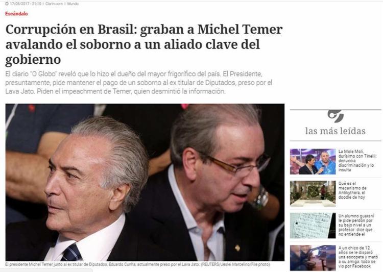 Jornais da América do Sul e de Portugal publicam reportagens sobre possível aval de presidente para compra de silêncio de Cunha - Foto: Reprodução l Clarín