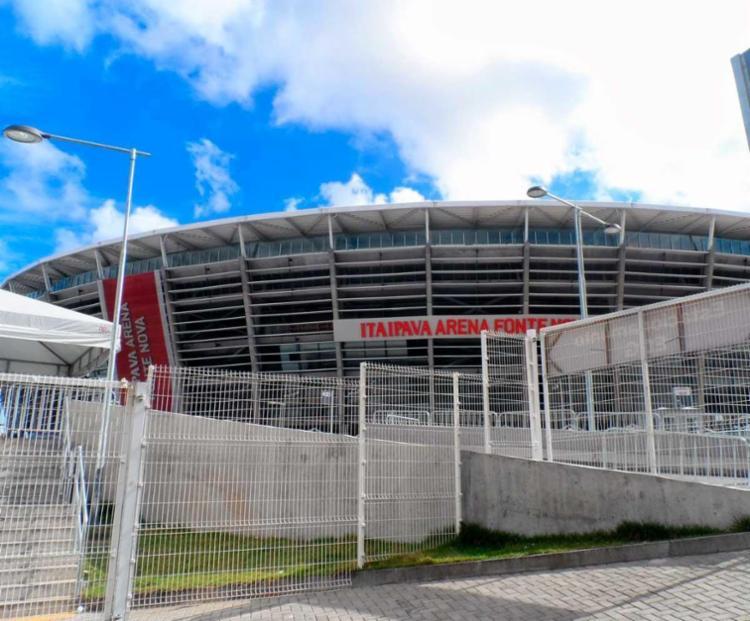 O explosivo foi lançado próximo da bilheteria sul da Arena - Foto: Divulgação | Arena Fonte Nova