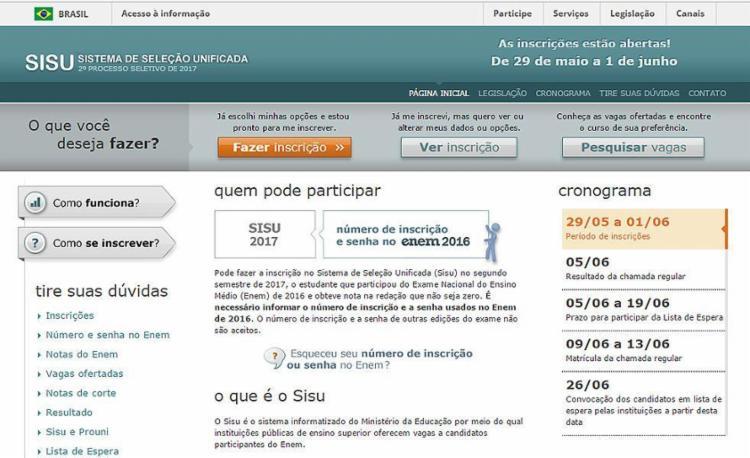 Ministério diz ter encontrado 'erro de sincronização entre as bases de dados' e informou que a falha já foi resolvida - Foto: Reprodução l sisu.mec.gov.br