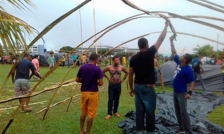 Ocupação faz parte do Acampamento dos Povos Indígenas - Foto: Joá Souza   Ag. A TARDE