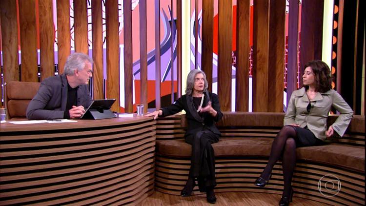 Ministra Cármen Lúcia foi entrevistada na estreia no programa de Bial - Foto: Reprodução | Tv Globo