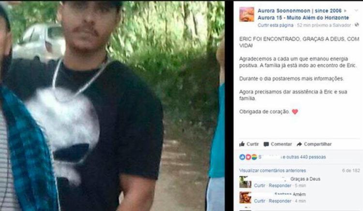 Produção do evento confirmou que Eric foi encontrado - Foto: Reprodução | Facebooh