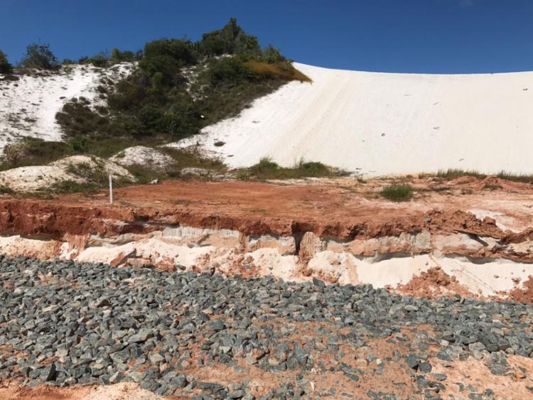 Sedur alega que há avanço da obra na base das dunas - Foto: Ascom | Sedur