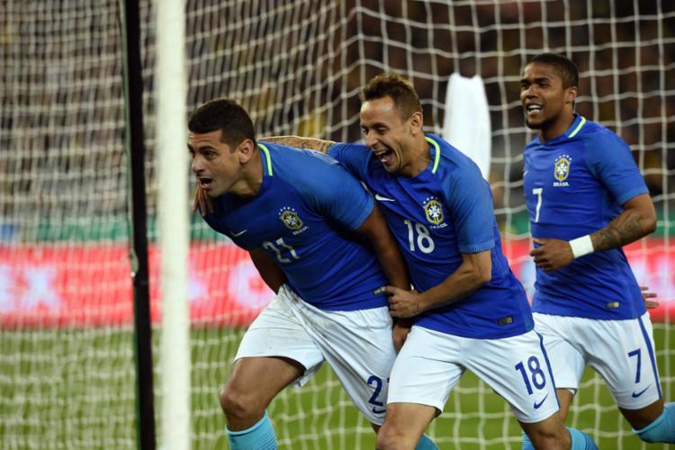 Diego Souza foi o primeiro a marcar pela seleção brasileira - Foto: Saeed Khan | AFP