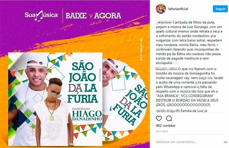 Banda La Fúria foi alvo de várias críticas no perfil do grupo no Instagram - Foto: Reprodução | Instagram