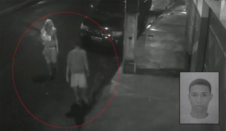 Yan (detalhe) será indiciado. Câmeras de segurança flagraram dupla após o delito - Foto: Reprodução l A TARDE TV e Mila Cordeiro l Ag. A TARDE
