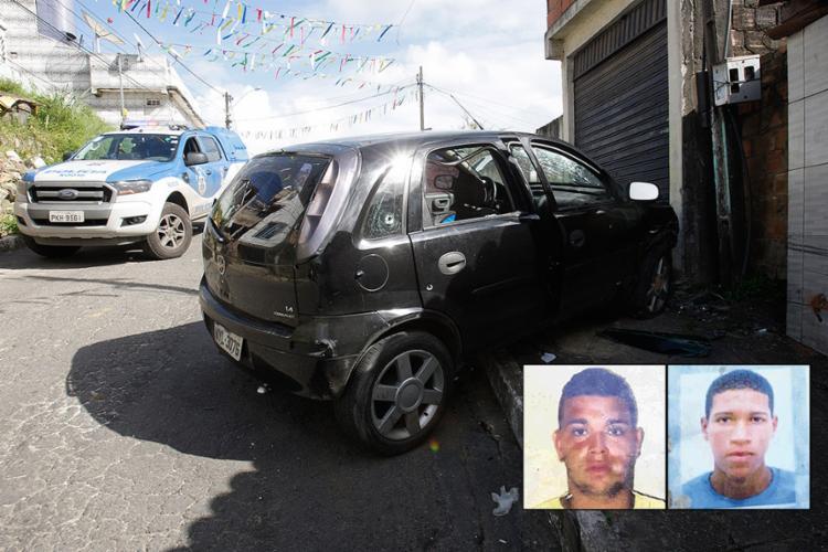 Suspeitos estavam no veículo que foi alvejado por tiros; Lucas (E) e Alexandre foram executados na Travessa do Caju - Foto: Margarida Neide l Ag. A TARDE e Reprodução