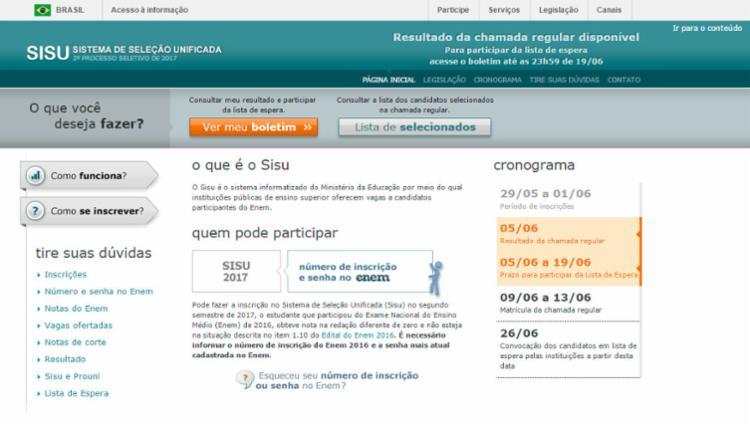 O sisu oferece 51.913 vagas em 1.462 cursos de 63 instituições de ensino - Foto: Reprodução l sisu.mec.gov.br