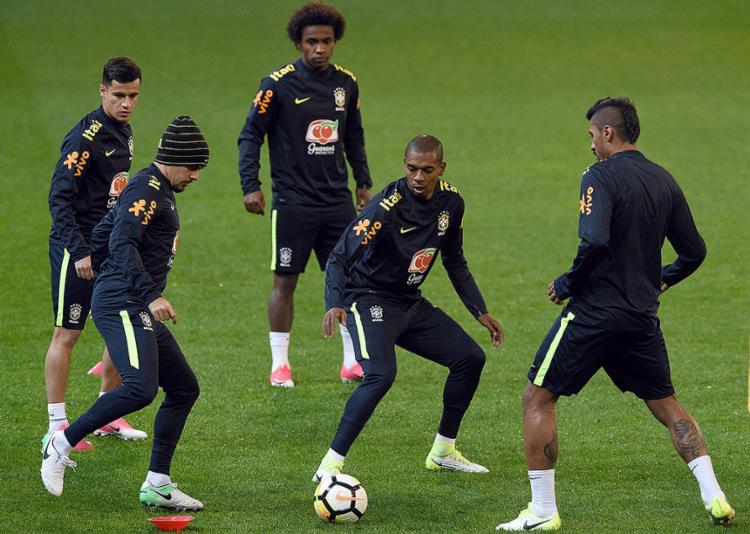 Jogadores do Brasil em treino preparação para o clássico - Foto: Saeed Khan l AFP Photo