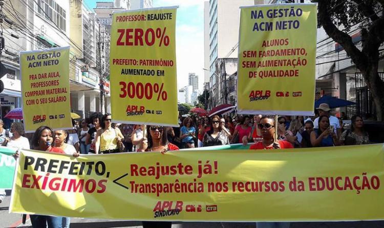 Além do reajuste salarial de 14,5%, eles pedem melhores condições de trabalho - Foto: Divulgação   APLB