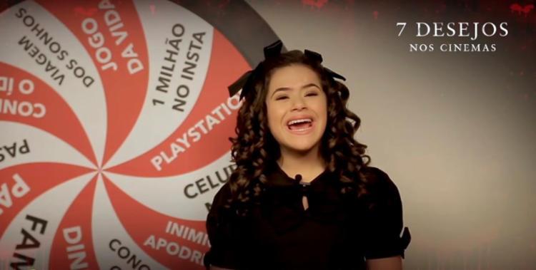 A atriz fez um vídeo para a divulgação do filme de terror '7 desejos' - Foto: Reprodução | YouTube