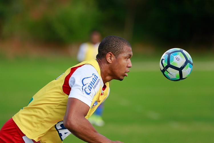 Atacante marcou um gol no treino tático desta quinta-feira, 27, no Fazendão - Foto: Felipe Oliveira l EC Bahia