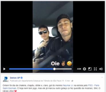 Detran destacou a boa prática de Neymar Jr nesta segunda - Foto: Reprodução