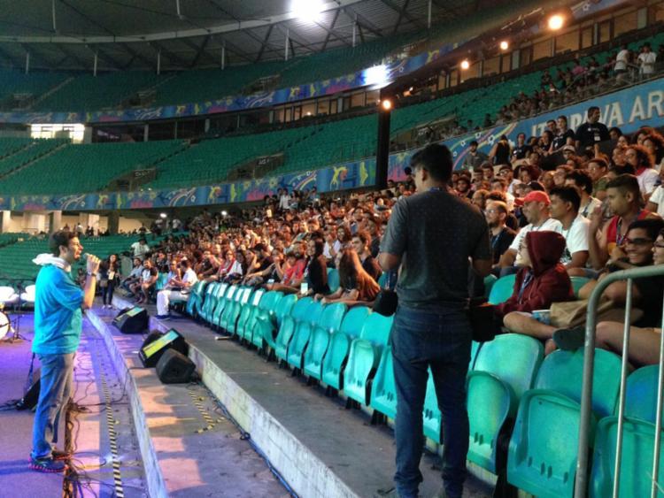 Campuseiros participaram da cerimônia de encerramento na Fonte Nova - Foto: Aina Soledá | A TARDE SP