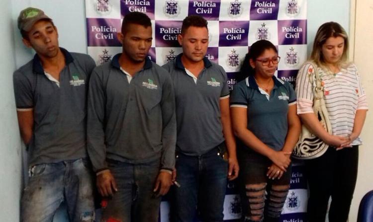 Os cinco suspeitos foram autuados em flagrante por associação criminosa e já foram encaminhados para audiência de custódia com o juiz - Foto: Divulgação | Polícia Civil