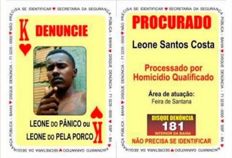 Leone Santos Costas é o Rei de Copas do Baralho do Crime da SSP - Foto: Divulgação | SSP
