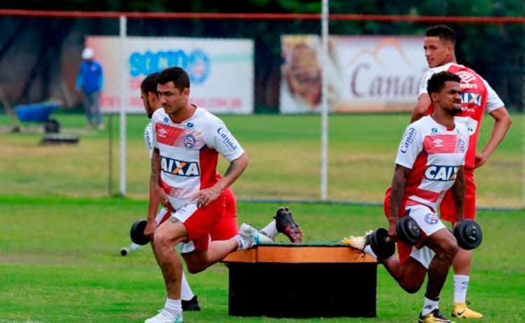 Elenco fez um trabalho físico e técnico com bola - Foto: Felipe Oliveira | EC Bahia
