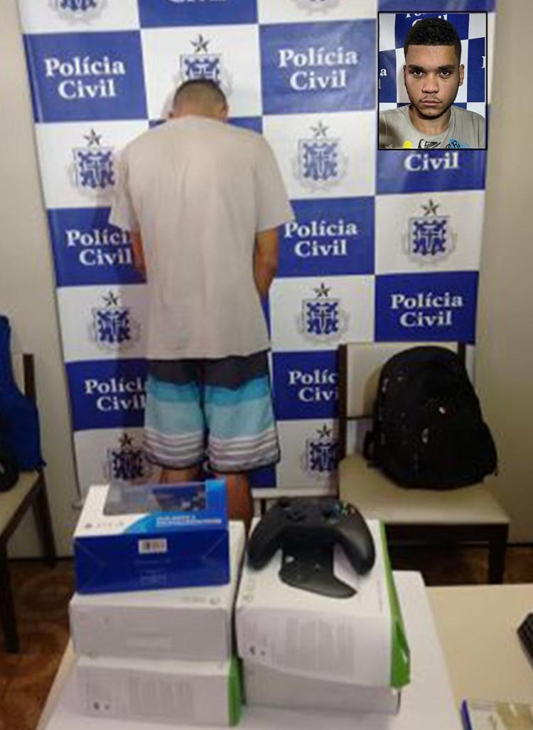 Luiz saiu do prédio com seis sacolas cheias de produtos; nesta quinta-feira, 3, escondeu o rosto - Foto: Raul Aguilar l Ag. A TARDE e Divulgação l Polícia Civil
