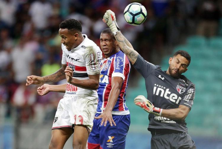 Mesmo com o triunfo contra o São Paulo, faltou gás ao time do Bahia - Foto: Raul Spinassé | Ag. A TARDE