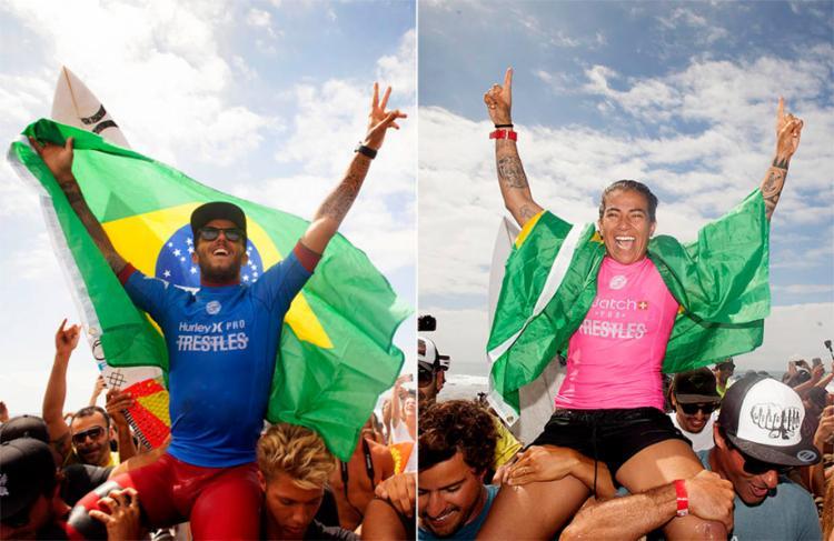 Filipe Toledo e Silvana Lima vencem no Circuito Mundial de Surfe - Foto: Sean Rowland e Steve Sherman | WSL