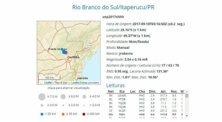 Registro do tremor pelo Centro Sismológico da USP - Foto: Reprodução | Centro de Sismologia da USP