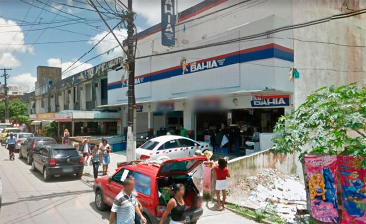 A loja das Casas Bahia foi furtada na madrugada desta segunda-feira - Foto: Reprodução | Google Maps