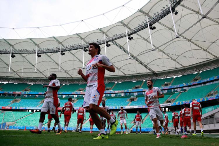Bahia treinou na Fonte, palco do jogo de hoje, na última sexta-feira - Foto: Felipe Oliveira | EC Bahia | Divulgação