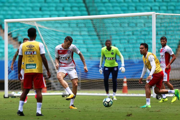 Elenco treinou nesta sexta, 29, no palco do jogo deste sábado, 30 - Foto: Felipe Oliveira l EC Bahia