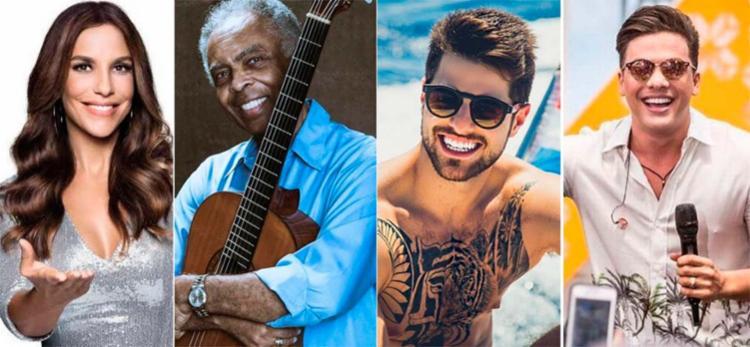 Ivete Sangalo, Gilberto Gil, DJ Alok e Wesley Safadão serão atrações - Foto: Divulgação