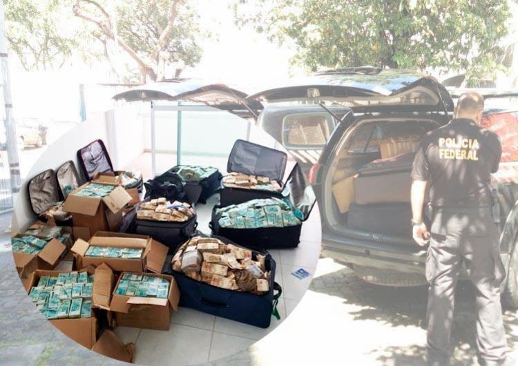 Malas de dinheiro e carros da Polícia Federal - Foto: Divulgação | PF
