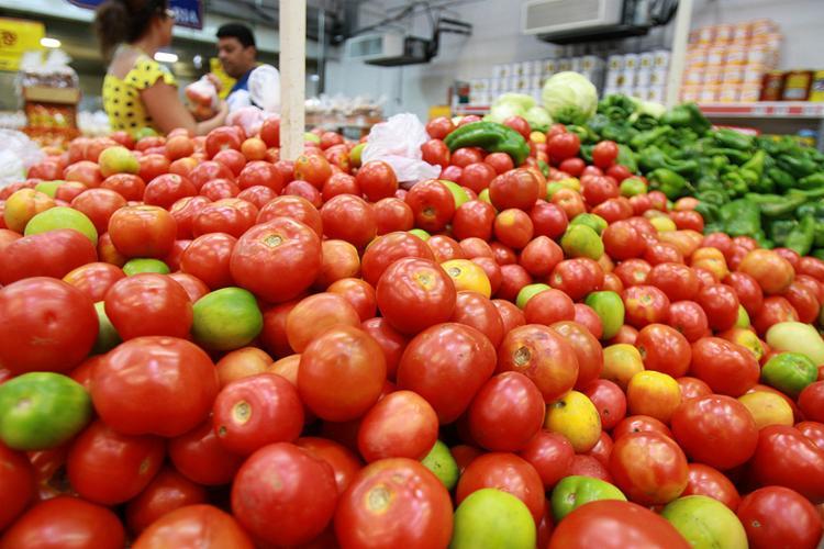 Segundo o Dieese, o tomate ficou quase 30% mais barato no mês passado - Foto: Joá Souza l Ag. A TARDE l 10.11.2016