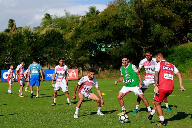 Elenco Tricolor treinou em dois períodos nesta terça-feira, 5, com direito a coletivo à tarde - Foto: Felipe Oliveira l EC Bahia