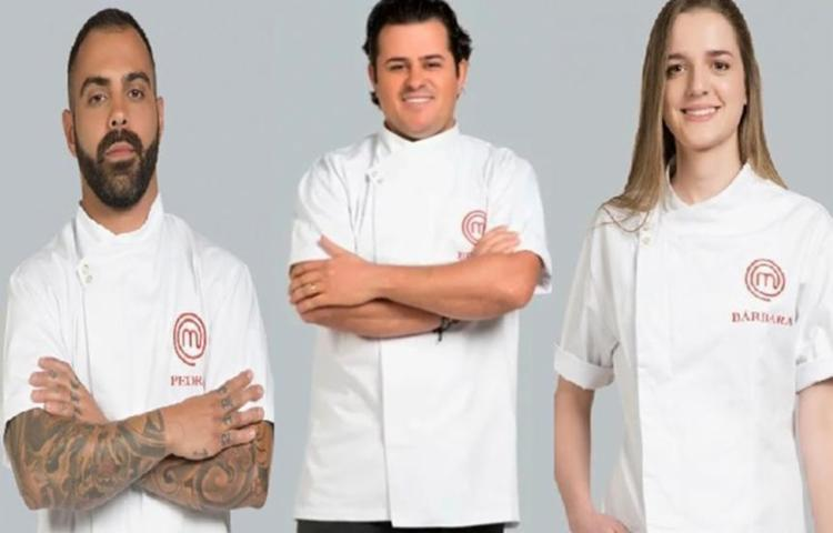 Pedro Pecego, Edney Moreira e Bárbara Cardin deixaram a competição no primeiro episódio - Foto: Reprodução | Band