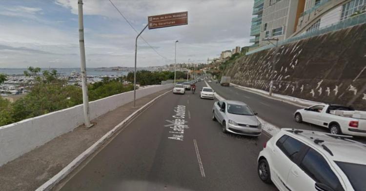 Por conta do acidente, o trânsito está lento nos dois sentidos - Foto: Reprodução | Google Maps