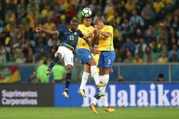 Uma das multas da CBF foi proveniente da partida entre Brasil e Equador, na Arena Grêmio - Foto: Lucas Figueiredo | CBF
