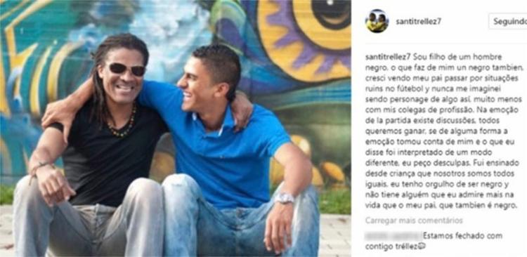 Atacante publicou foto com o pai: