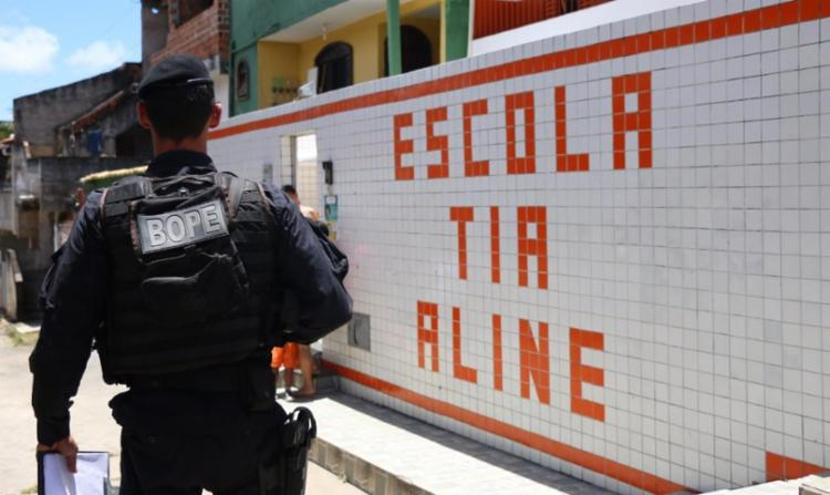 Suspeita de bomba assustou alunos e funcionários da escola infantil Tia Aline - Foto: Alberto Maraux | SSP-BA | Divulgação