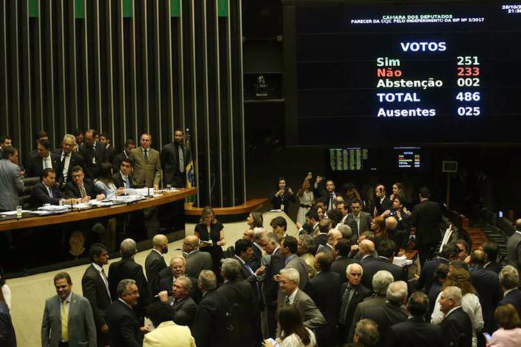 Temer recebeu o apoio de 251 deputados mas o placar foi mais apertado para o peemedebista do que o da primeira denúncia, em agosto - Foto: Fabio Rodrigues Pozzebom l Agência Brasil)