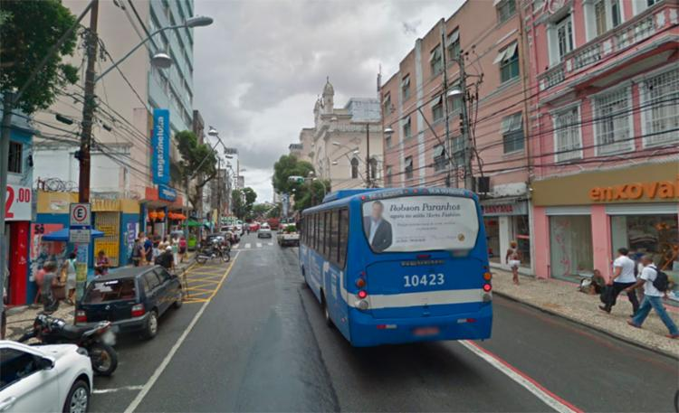 O caso aconteceu próximo da Magazine Luiza, na avenida Sete de Setembro - Foto: Reprodução | Google Maps