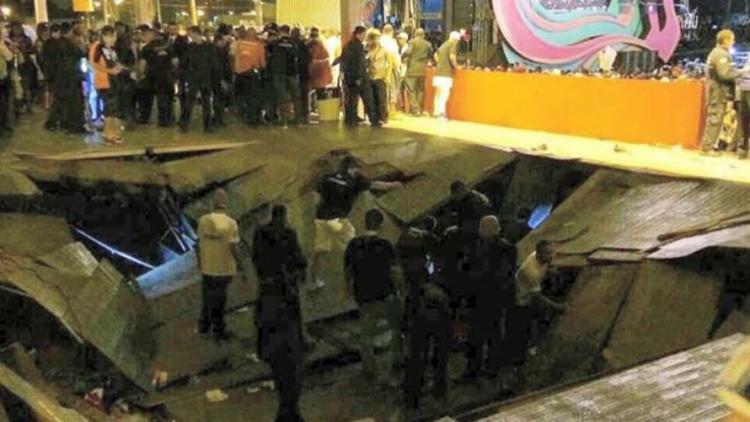 Parte do piso do camarote cedeu - Foto: Reprodução