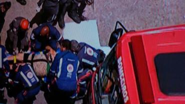 Agentes do Samu fizeram os primeiros socorros - Foto: Reprodução | TV Record