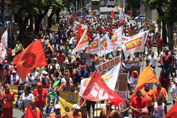 Ato faz parte do Dia Nacional de Mobilização contra Reforma Trabalhista - Foto: Luciano da Matta N  Ag. A TARDE