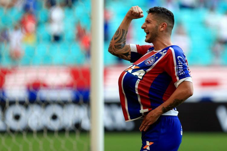 Belo gol do meia contra o Atlético-PR está na disputa - Foto: Felipe Oliveira | EC Bahia
