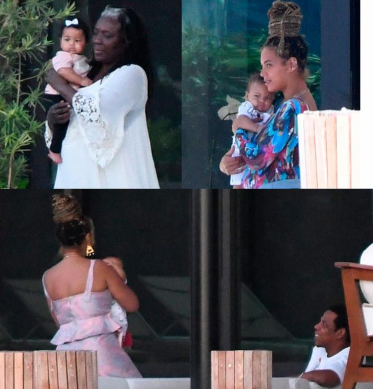Rumi e Sir Carter foram fotografados com Beyoncé em Miami - Foto: Reprodução | Daily Mail