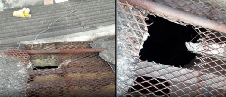 Após quebrar a viga de sustentação, eles serraram a tela de aço no teto da cela - Foto: Reprodução | Alta Pressão Online