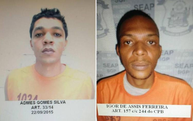 Admes Silva e Igor Ferreira fugiram pelo matagal que circunda o presídio - Foto: Divulgação | Sinspeb