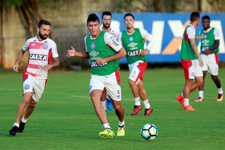 Elenco do Tricolor fez um treino fechado nesta quinta-feira, 23 - Foto: Marcelo Malaquias l EC Bahia