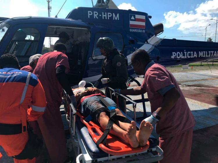 Duas das vítimas foram socorridas de helicóptero para um hospital em Salvador - Foto: Divulgação | SSP-BA